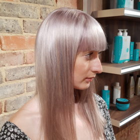 Pearly pastel hair colour