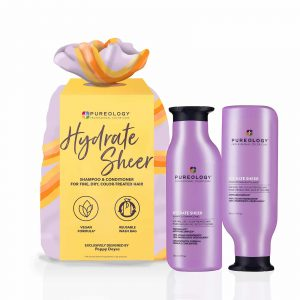 Pureology hydrate sheer christmas gift set 2021 with 266ml hydrate sheer shampoo and conditioner