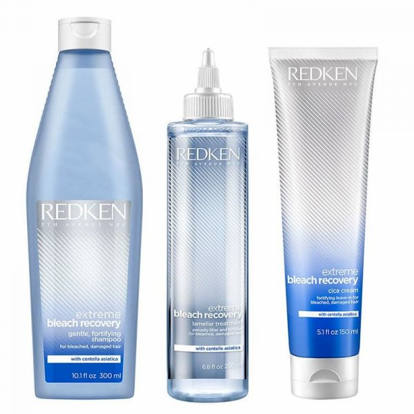 Redken extreme bleach recovery shampoo, lamella treatment and Cica cream trio pack