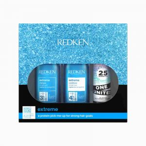 Redken Extreme Christmas Gift Set 2021 with shampoo and conditioner and one united treatment spray in gift box front view
